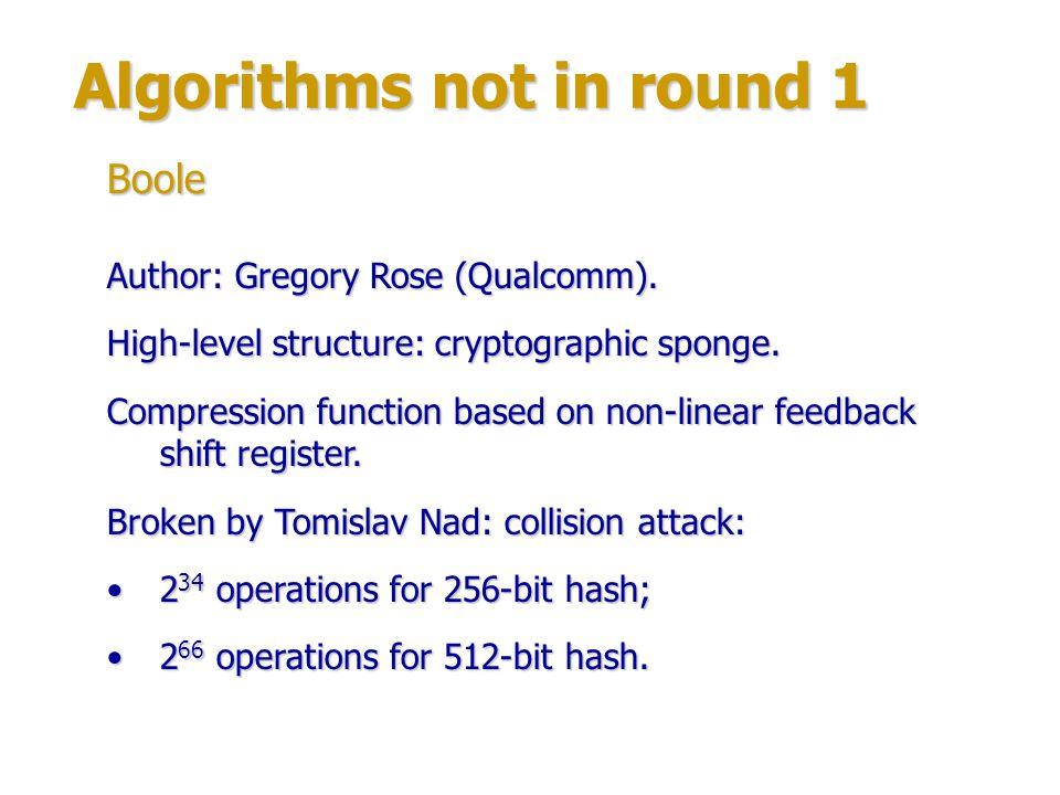 Algorithms not in round 1 Author: David Wilson.High-level structure: Merkle-Damgård construction.