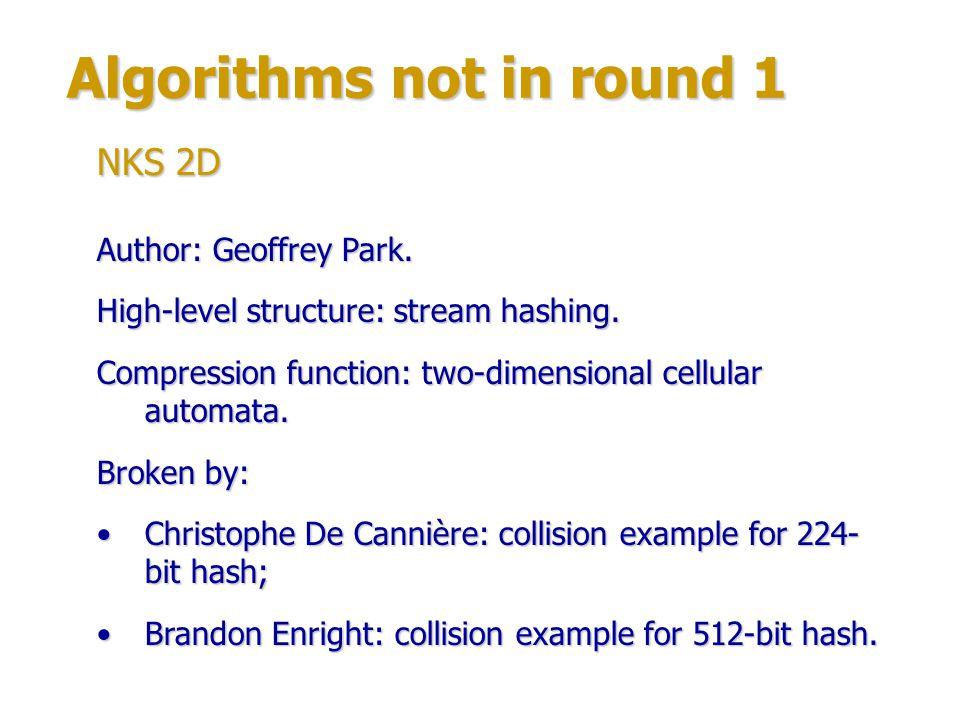 Algorithms not in round 1 Author: Peter Schmidt-Nielsen.