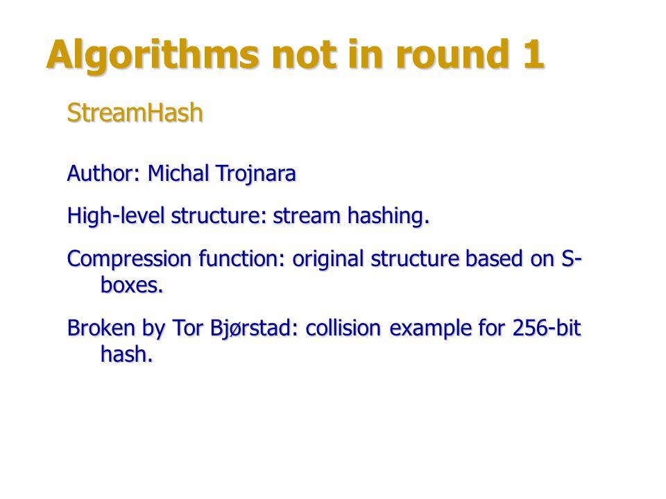 Algorithms not in round 1 Authors: Rafael Alvarez, Gary McGuire, Antonio Zamora.