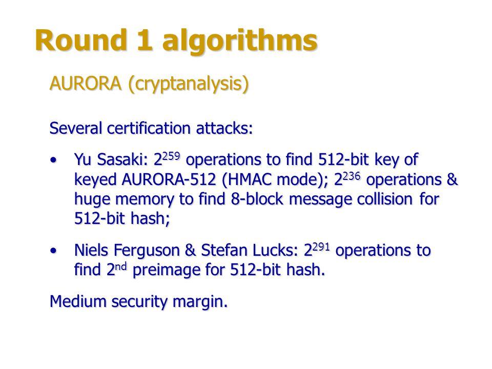 Round 1 algorithms Author: Colin Bradbury.