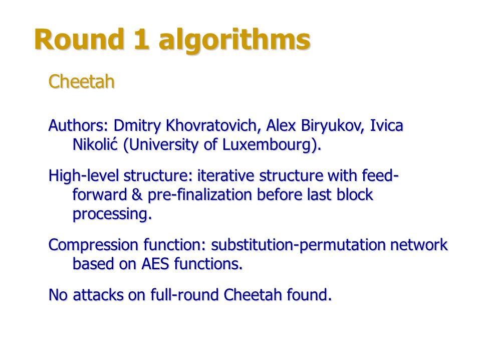 Round 1 algorithms Authors: Phil Hawkes & Cameron McDonald (Qualcomm, Australia).