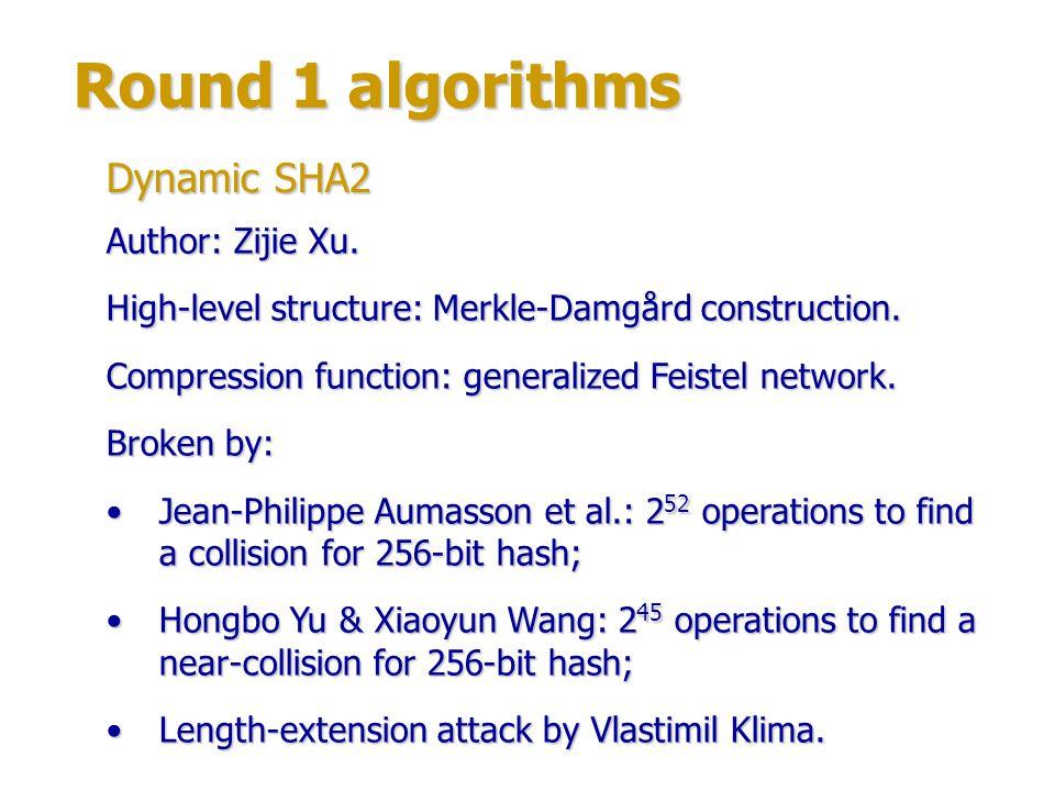 Round 1 algorithms Authors: Daniel Brown, Matt Campagna, Rene Struik (Certicom Corp., Canada).