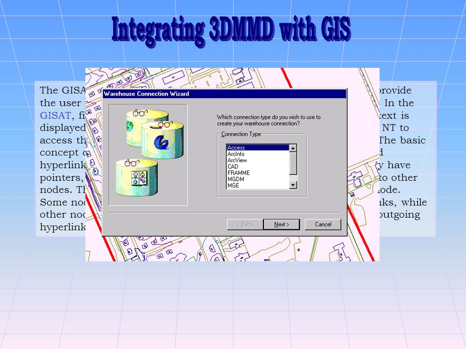 The GISAT is used as the GUI to display the multimedia data and provide the user with an interactive tool to explore multimedia information.