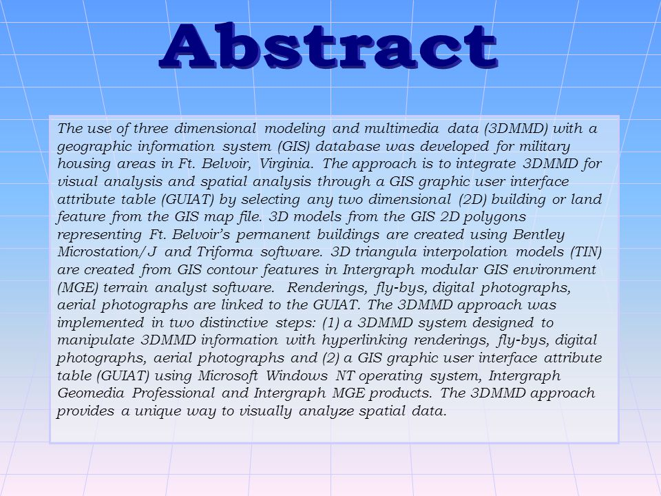 The use of three dimensional modeling and multimedia data (3DMMD) with a geographic information system (GIS) database was developed for military housing areas in Ft.