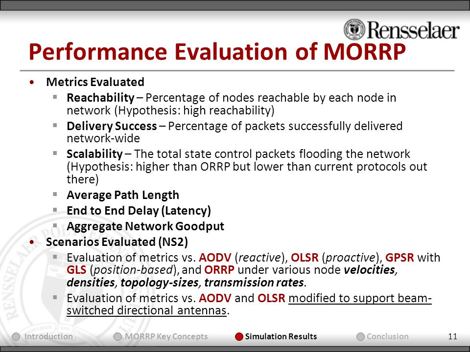 11 Performance Evaluation of MORRP Metrics Evaluated Reachability – Percentage of nodes reachable by each node in network (Hypothesis: high reachability) Delivery Success – Percentage of packets successfully delivered network-wide Scalability – The total state control packets flooding the network (Hypothesis: higher than ORRP but lower than current protocols out there) Average Path Length End to End Delay (Latency) Aggregate Network Goodput Scenarios Evaluated (NS2) Evaluation of metrics vs.