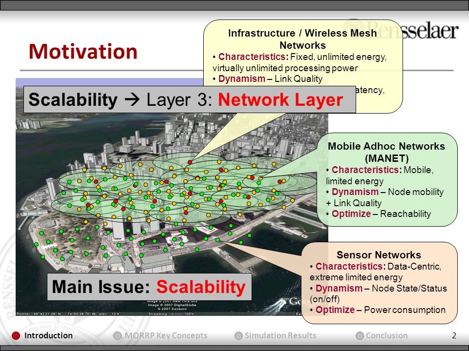 2 Motivation Main Issue: Scalability Infrastructure / Wireless Mesh Networks Characteristics: Fixed, unlimited energy, virtually unlimited processing power Dynamism – Link Quality Optimize – High throughput, low latency, balanced load Mobile Adhoc Networks (MANET) Characteristics: Mobile, limited energy Dynamism – Node mobility + Link Quality Optimize – Reachability Sensor Networks Characteristics: Data-Centric, extreme limited energy Dynamism – Node State/Status (on/off) Optimize – Power consumption Introduction MORRP Key Concepts Simulation Results Conclusion Scalability Layer 3: Network Layer