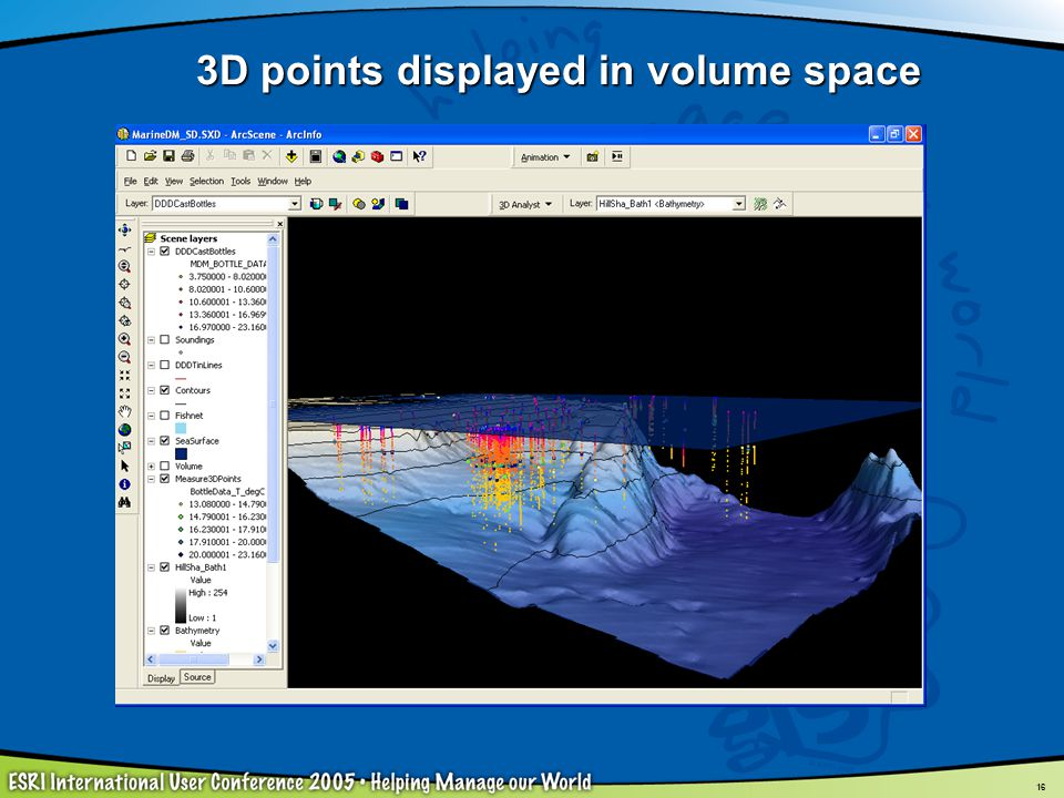 16 3D points displayed in volume space