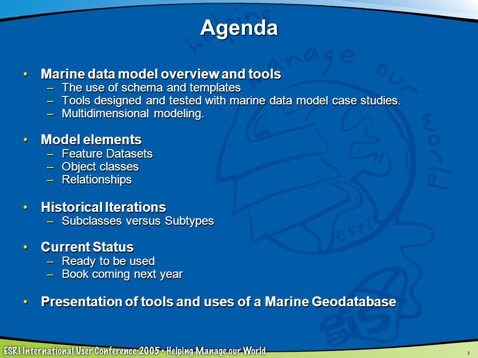 44 ArcMarine: A Geospatial Framework for Ocean and Coastal Analysis ESRI Press, 2006ESRI Press, 2006 –By Wright, Blongewicz, Halpin, Breman Full background documentation with ~10 case studiesFull background documentation with ~10 case studies Chapter 1 - Introduction (Why ArcMarine?)Chapter 1 - Introduction (Why ArcMarine?) Chapter 2 - Conceptual Framework and Common Marine Data TypesChapter 2 - Conceptual Framework and Common Marine Data Types