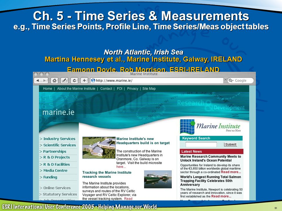 51 Ch. 5 - Time Series & Measurements e.g., Time Series Points, Profile Line, Time Series/Meas object tables North Atlantic, Irish Sea Martina Hennese
