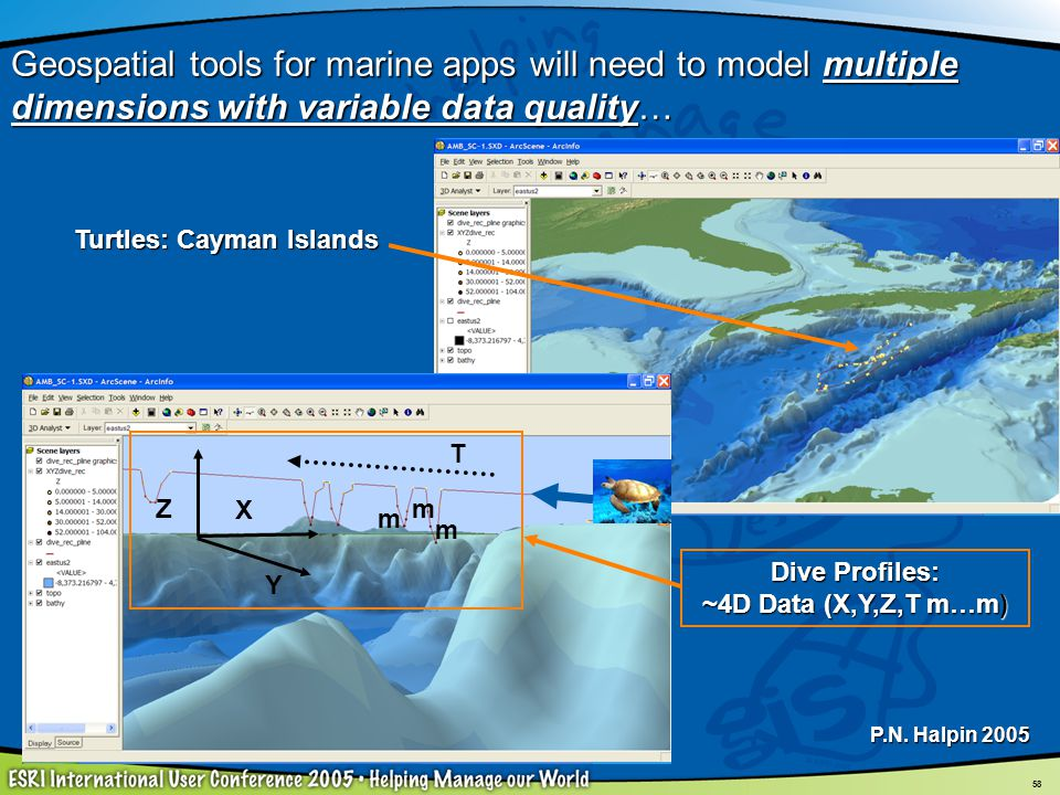 58 Turtles: Cayman Islands Dive Profiles: ~4D Data (X,Y,Z,T m…m) Z X Y T m m m Geospatial tools for marine apps will need to model multiple dimensions