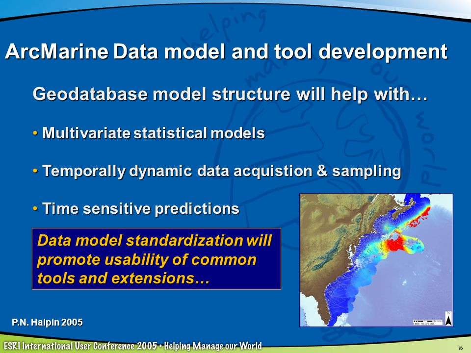 65 Geodatabase model structure will help with… Multivariate statistical models Multivariate statistical models Temporally dynamic data acquistion & sa