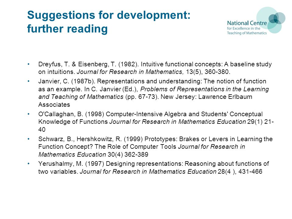 Suggestions for development: further reading Dreyfus, T.