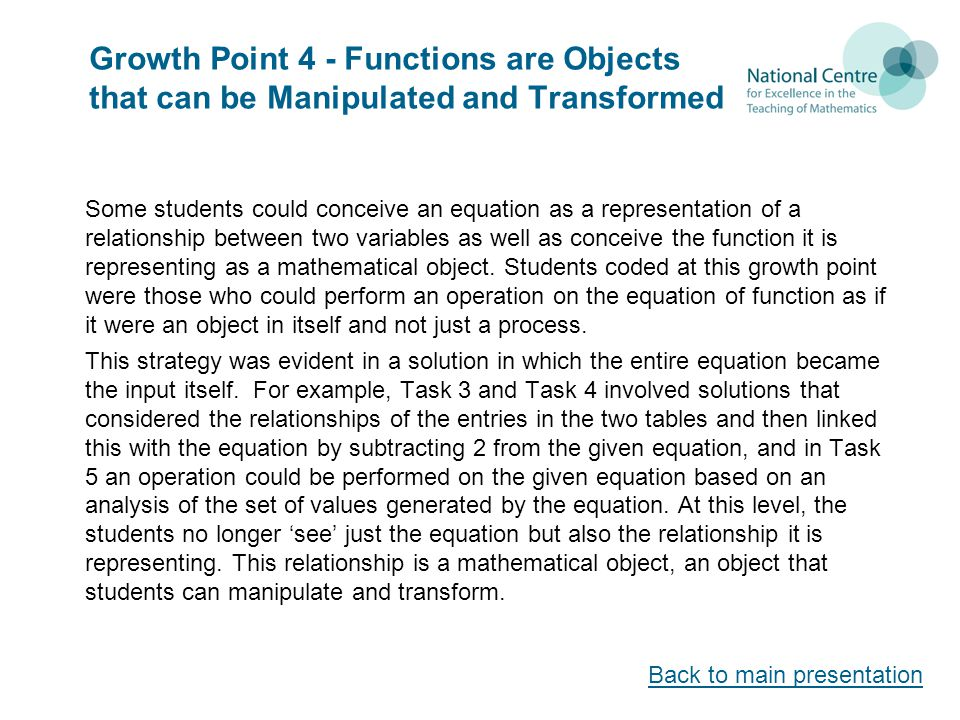 Growth Point 4 - Functions are Objects that can be Manipulated and Transformed Some students could conceive an equation as a representation of a relationship between two variables as well as conceive the function it is representing as a mathematical object.