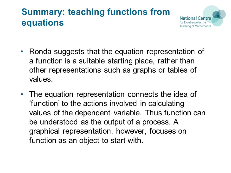 Summary: teaching functions from equations Ronda suggests that the equation representation of a function is a suitable starting place, rather than other representations such as graphs or tables of values.