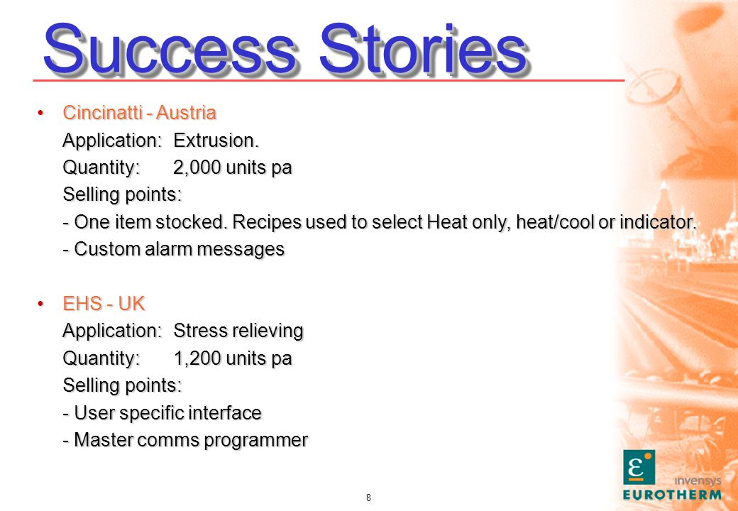 8 Success Stories Cincinatti - AustriaCincinatti - Austria Application: Extrusion.