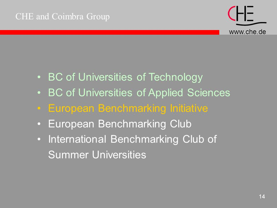 CHE and Coimbra Group 13 Benchmarking - The CHE model