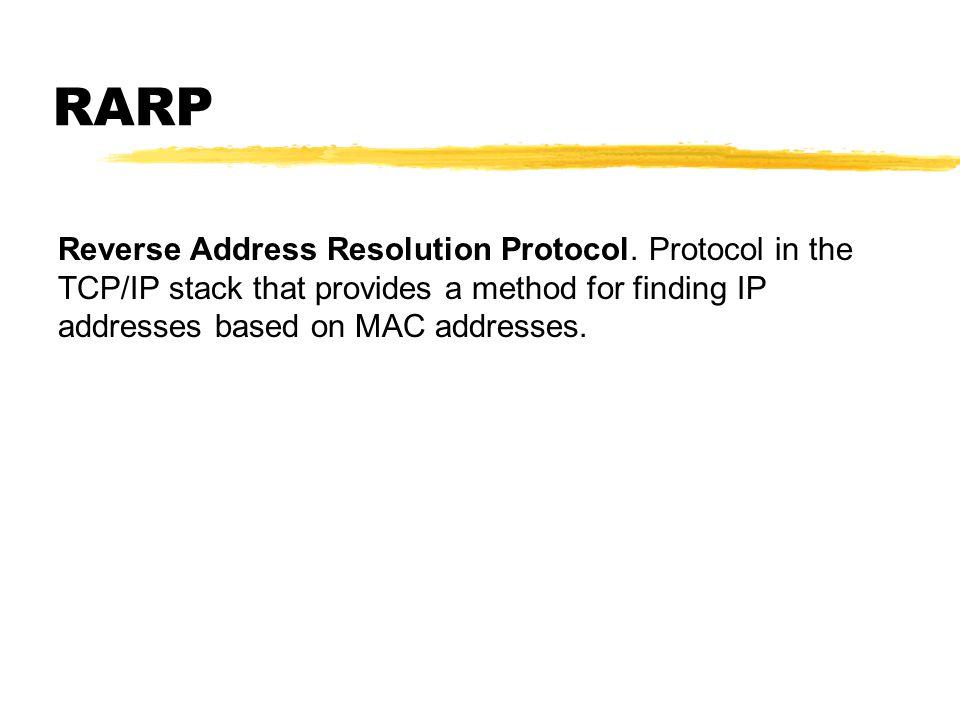 RARP Reverse Address Resolution Protocol.