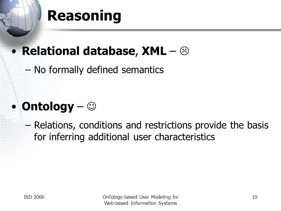ISD 2006Ontology-based User Modeling for Web-based Information Systems 10 Reasoning Relational database, XML – –No formally defined semantics Ontology