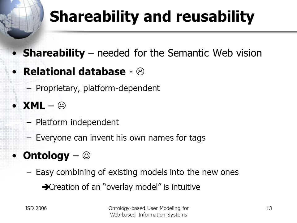 ISD 2006Ontology-based User Modeling for Web-based Information Systems 13 Shareability and reusability Shareability – needed for the Semantic Web visi