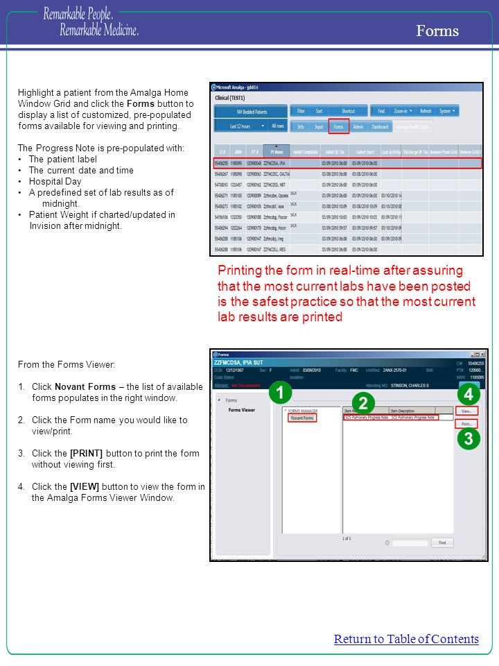 Highlight a patient from the Amalga Home Window Grid and click the Forms button to display a list of customized, pre-populated forms available for viewing and printing.