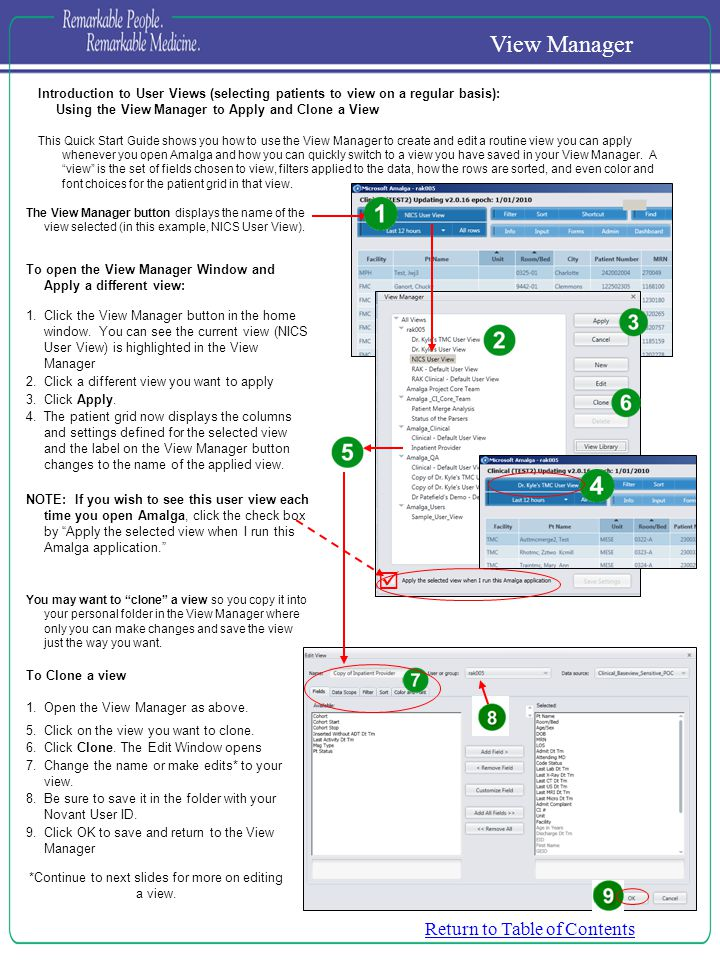 Introduction to User Views (selecting patients to view on a regular basis): Using the View Manager to Apply and Clone a View This Quick Start Guide sh