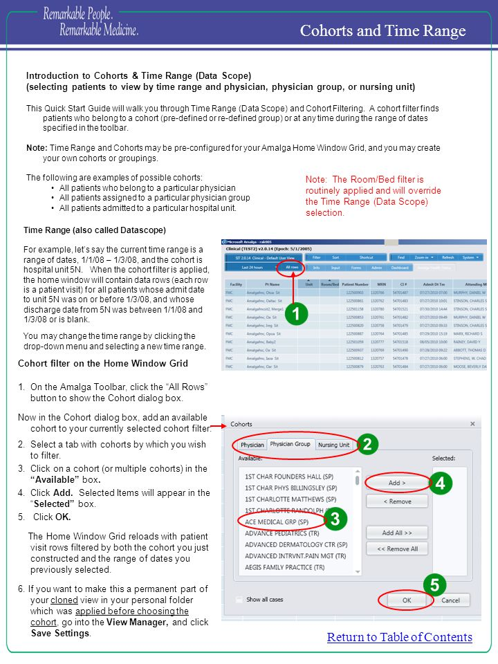 Introduction to Cohorts & Time Range (Data Scope) (selecting patients to view by time range and physician, physician group, or nursing unit) This Quick Start Guide will walk you through Time Range (Data Scope) and Cohort Filtering.
