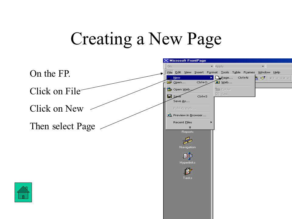 Creating a New Page On the FP. Click on File Click on New Then select Page