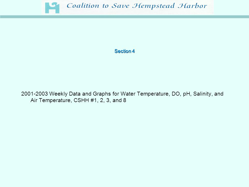 Section 4 2001-2003 Weekly Data and Graphs for Water Temperature, DO, pH, Salinity, and Air Temperature, CSHH #1, 2, 3, and 8
