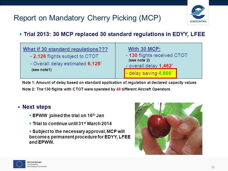 14 Report on Mandatory Cherry Picking (MCP) Trial 2013: 30 MCP replaced 30 standard regulations in EDYY, LFEE What if 30 standard regulations??? - 2,1