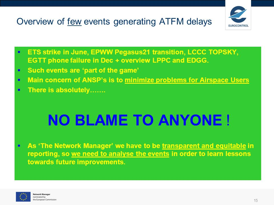 15 Overview of few events generating ATFM delays ETS strike in June, EPWW Pegasus21 transition, LCCC TOPSKY, EGTT phone failure in Dec + overview LPPC