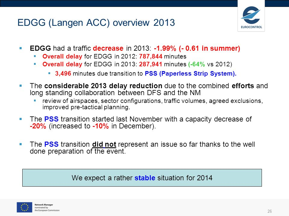 26 EDGG (Langen ACC) overview 2013 EDGG had a traffic decrease in 2013: -1.99% (- 0.61 in summer) Overall delay for EDGG in 2012: 787,844 minutes Over