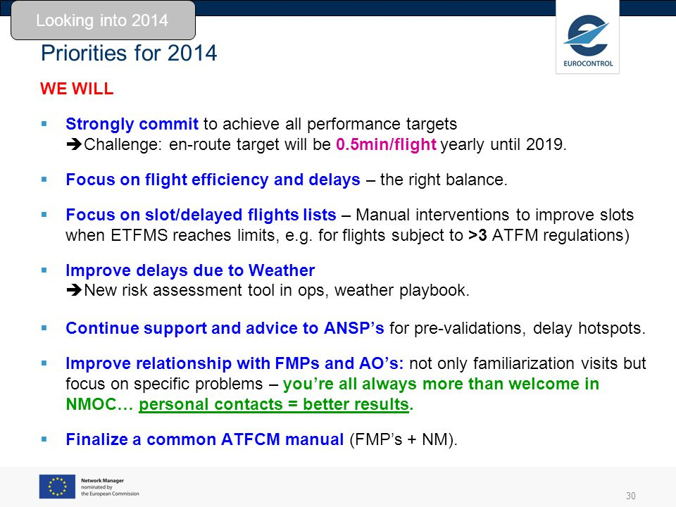 30 Priorities for 2014 WE WILL Strongly commit to achieve all performance targets Challenge: en-route target will be 0.5min/flight yearly until 2019.