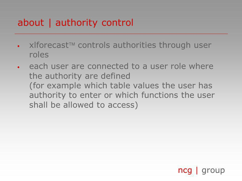 ncg | group xlforecast controls authorities through user roles each user are connected to a user role where the authority are defined (for example whi