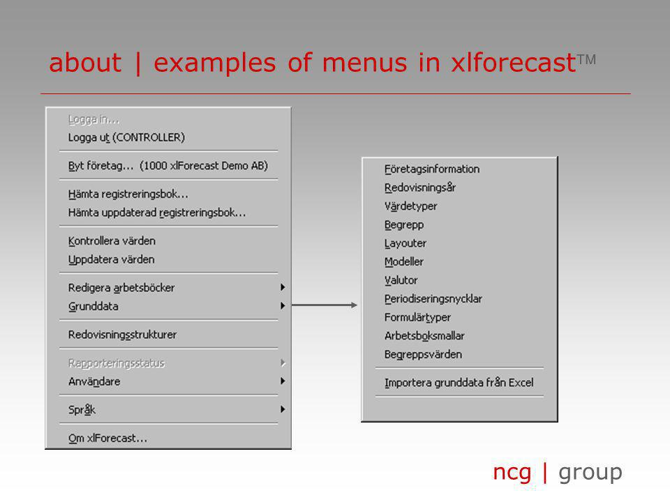 ncg | group about | examples of menus in xlforecast