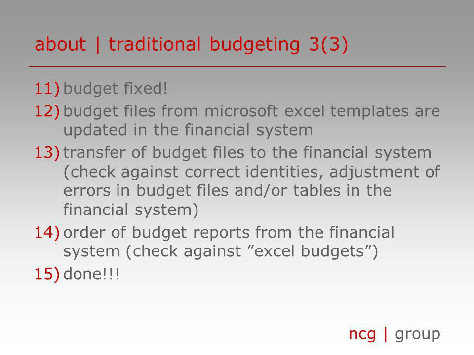 ncg | group 11)budget fixed! 12)budget files from microsoft excel templates are updated in the financial system 13)transfer of budget files to the fin