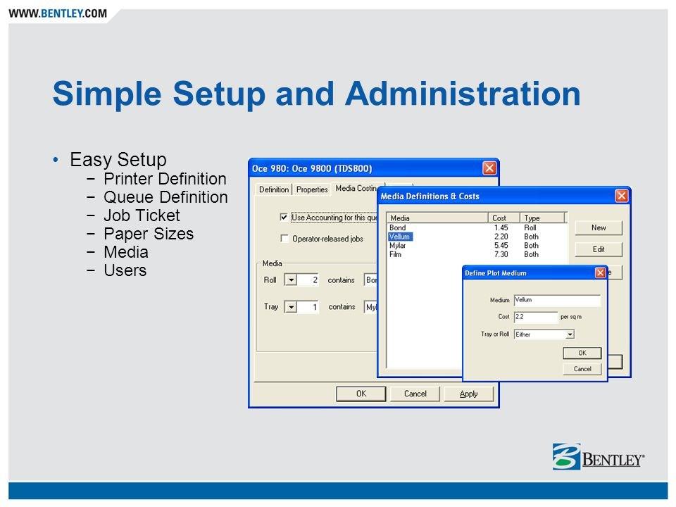 Simple Setup and Administration Easy Setup Printer Definition Queue Definition Job Ticket Paper Sizes Media Users