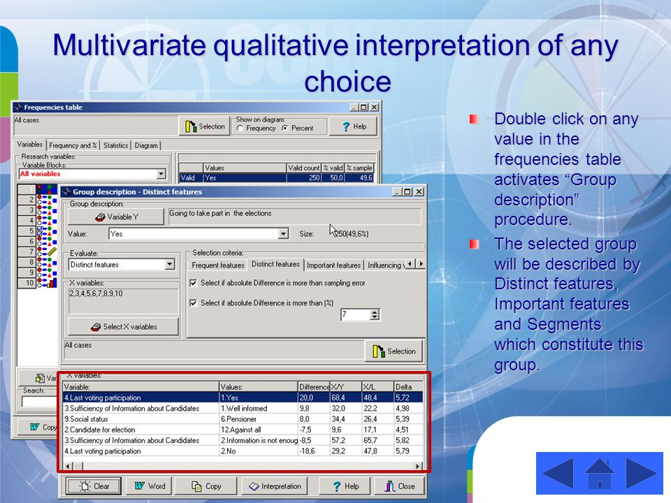 Multivariate qualitative interpretation of any choice Double click on any value in the frequencies table activates Group description procedure.