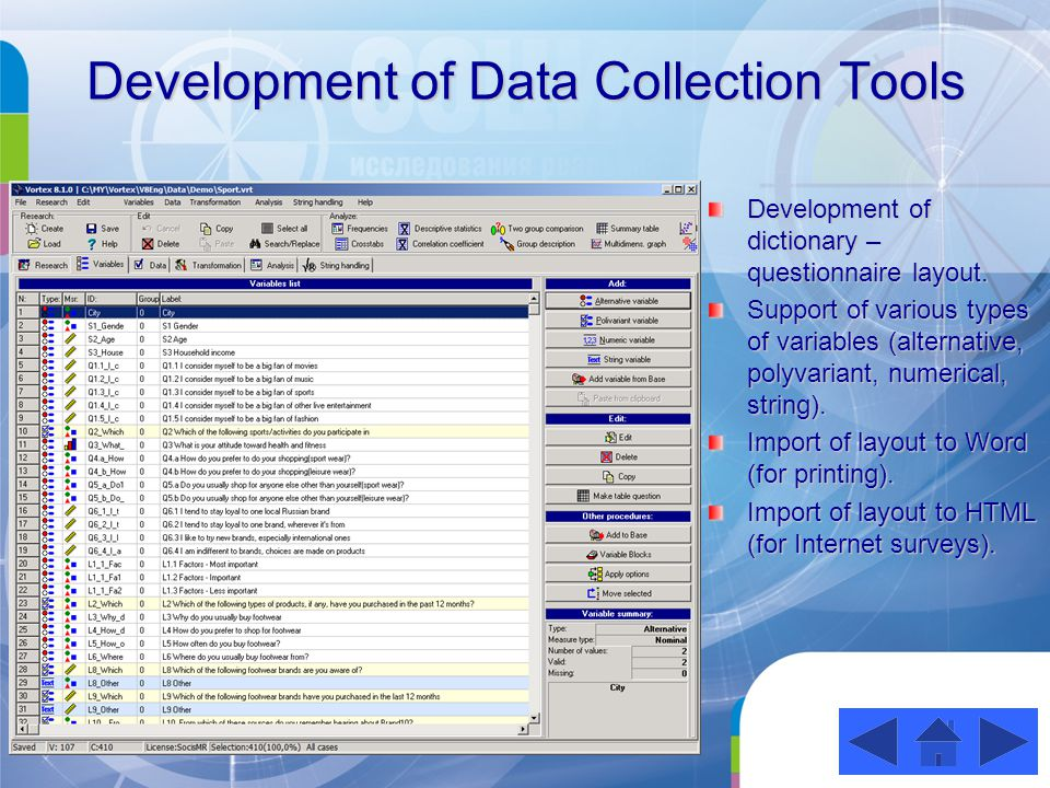 Development of Data Collection Tools Development of dictionary – questionnaire layout.