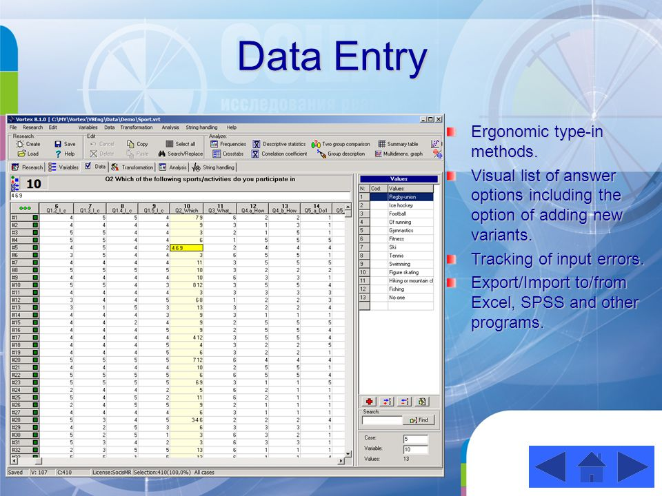 Data Entry Ergonomic type-in methods.