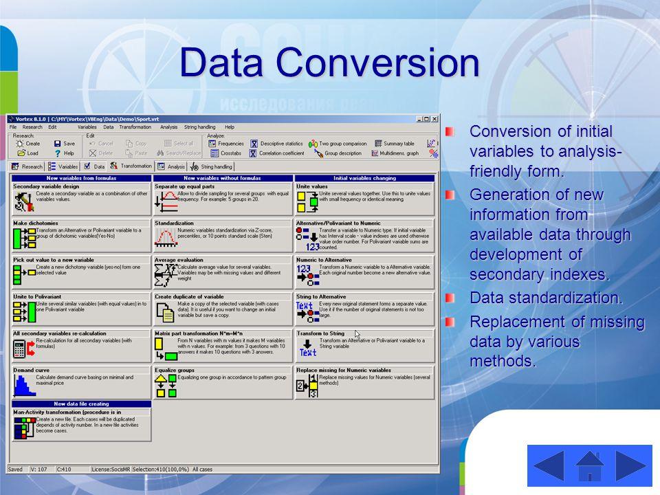 Information Analysis Procedures of univariate, bidimensional and multivariate analysis.