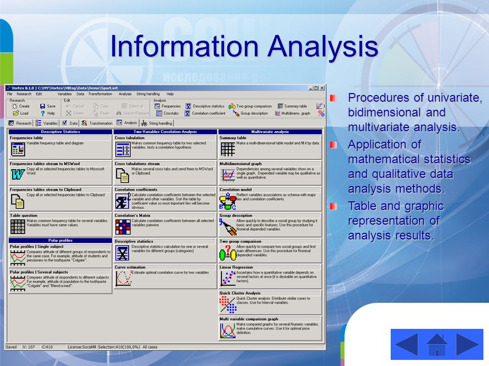 Table and Graphical Representation of Results Import of any analysis results to Microsoft Word as editable tables and diagrams; Copying of analysis results as tables and diagrams to clipboard for inserting in other application programs; Open Office compatibility.