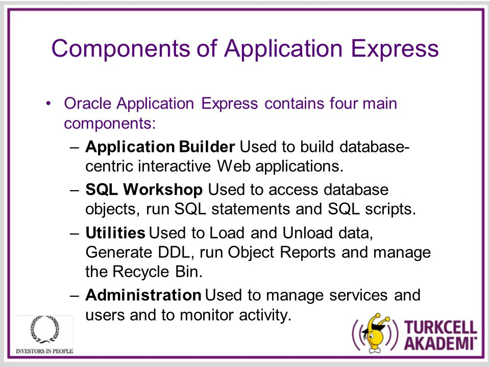 Components of Application Express Oracle Application Express contains four main components: –Application Builder Used to build database- centric interactive Web applications.
