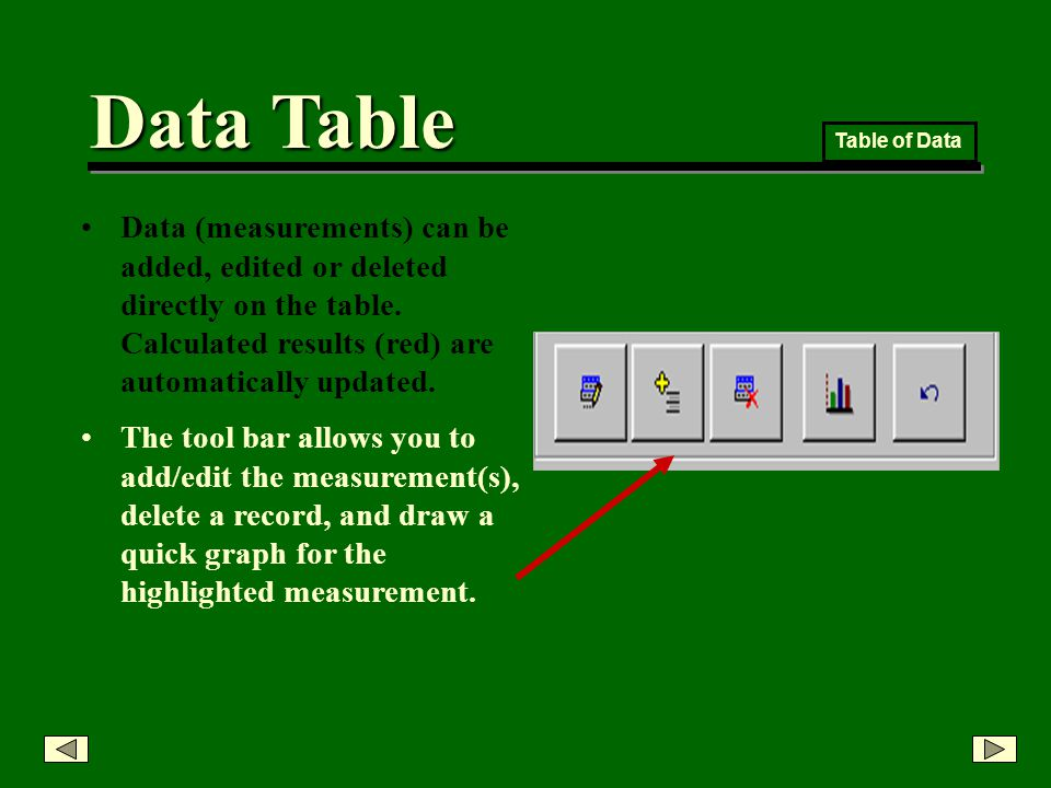Data Table Data (measurements) can be added, edited or deleted directly on the table.