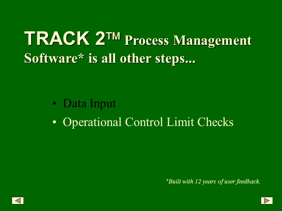 TRACK 2 Process Management Software* is all other steps...