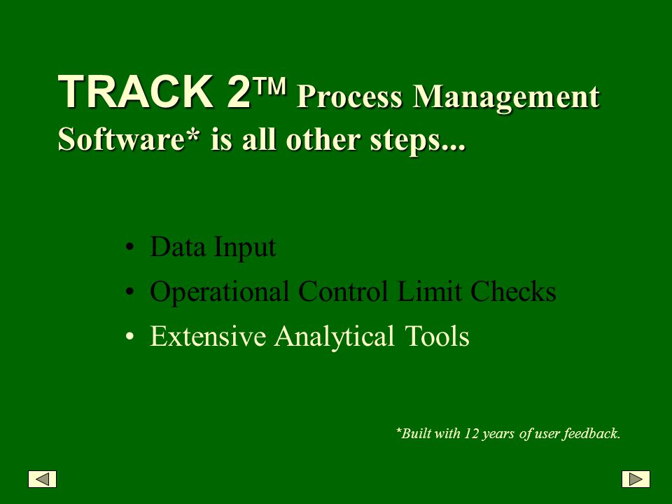 Extensive Analytical Tools TRACK 2 Process Management Software* is all other steps...