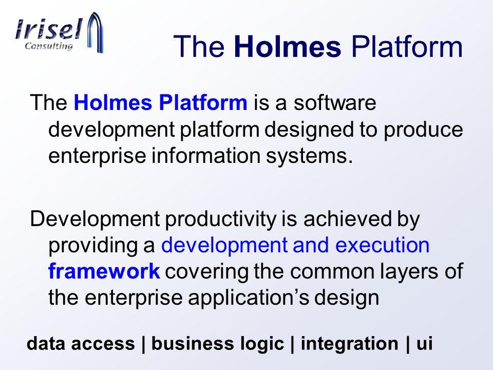 The Holmes Platform The Holmes Platform is a software development platform designed to produce enterprise information systems.