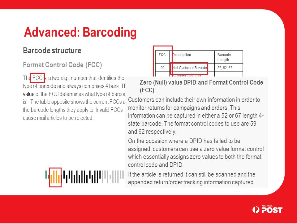 Advanced: Barcoding Barcode structure Format Control Code (FCC) The FCC is a two digit number that identifies the type of barcode and always comprises