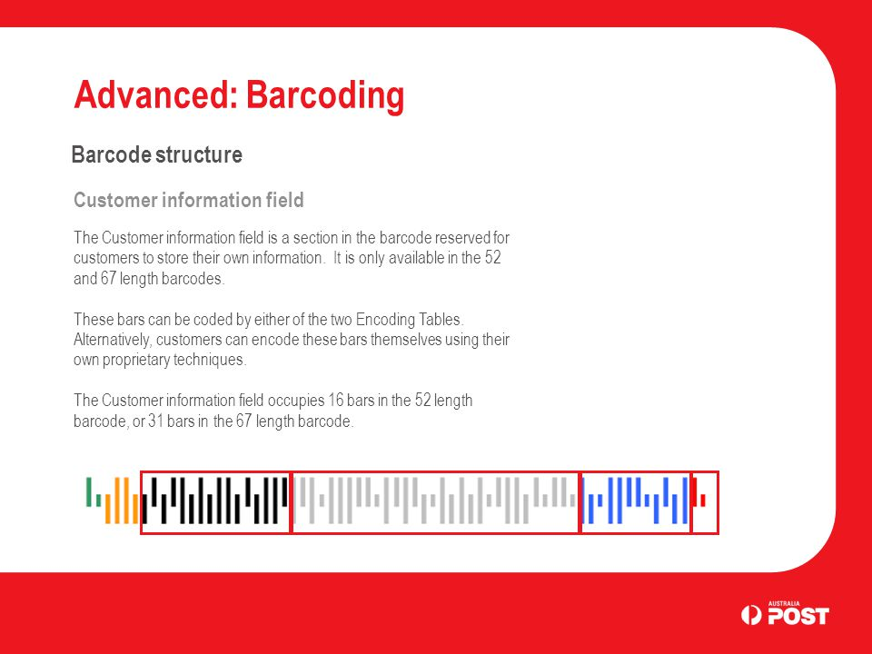 Advanced: Barcoding Barcode structure DPID The Delivery Point Identifier (DPIP) is an eight digit number that uniquely identifies a physical point to which Australia Post delivers mail.