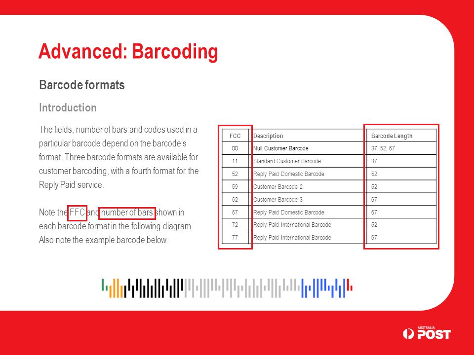 Advanced: Barcoding Barcode formats Introduction The fields, number of bars and codes used in a particular barcode depend on the barcodes format. Thre