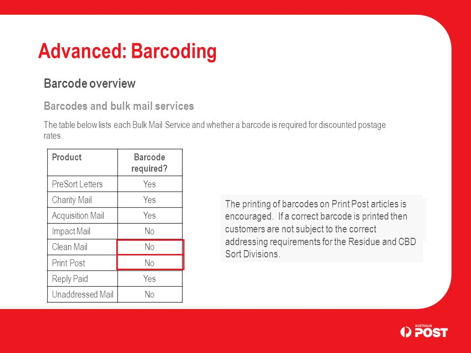 Advanced: Barcoding Barcode overview Four states The barcode used by Australia Post is called a 4-state barcode.